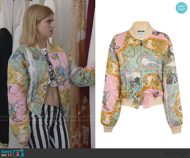 Print Bomber Jacket by Moschino worn by Carlson Young on Emily in Paris