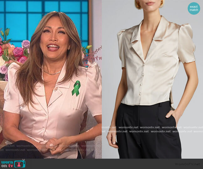 Satin Puff-Sleeve Blouse by Moussy worn by Carrie Inaba  on The Talk