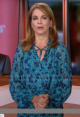 Natalie Morales's blue floral print tie neck dress on Today