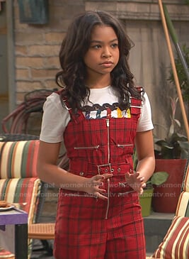 Nia's red plaid belted jumpsuit on Ravens Home