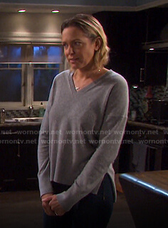 Nicole's grey v-neck sweater on Days of our Lives