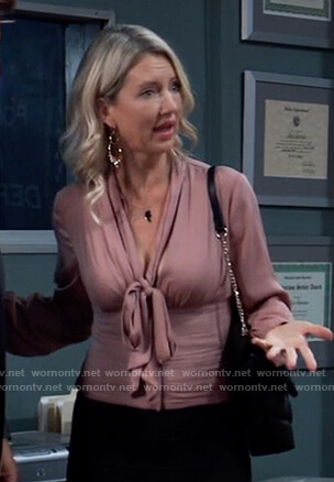 Nina's pink tie neck blouse on General Hospital