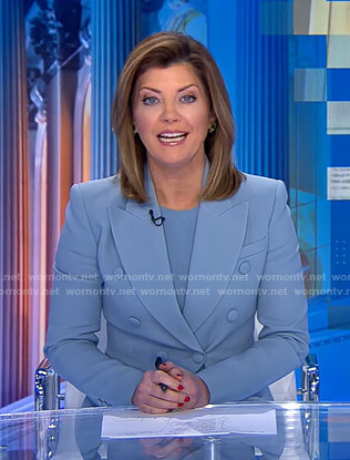 Norah's blue double breasted blazer on CBS Evening News