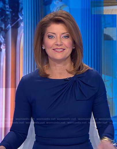 Norah's blue gathered neck dress on CBS Evening News