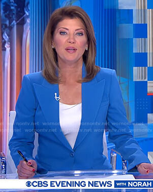 Norah's blue peak lapel blazer on CBS Evening News