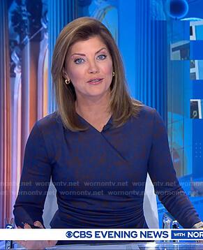 Norah's blue printed gathered dress on CBS Evening News