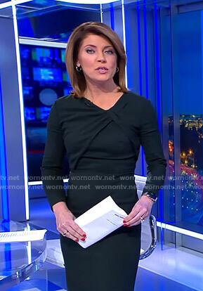 Norah's dark green twisted neck dress on CBS Evening News