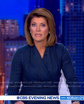 Norah's blue herringbone wrap top and skirt on CBS Evening News