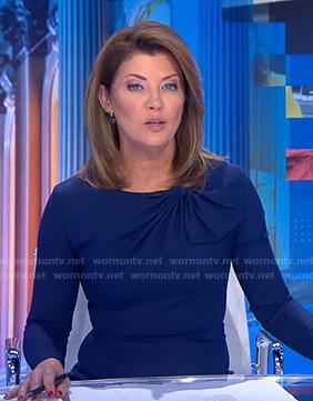 Norah's navy gathered neck dress on CBS Evening News