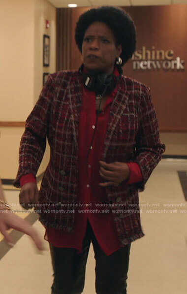 Norah's red tweed blazer on Filthy Rich