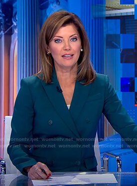 Norah's teal double breasted blazer on CBS Evening News