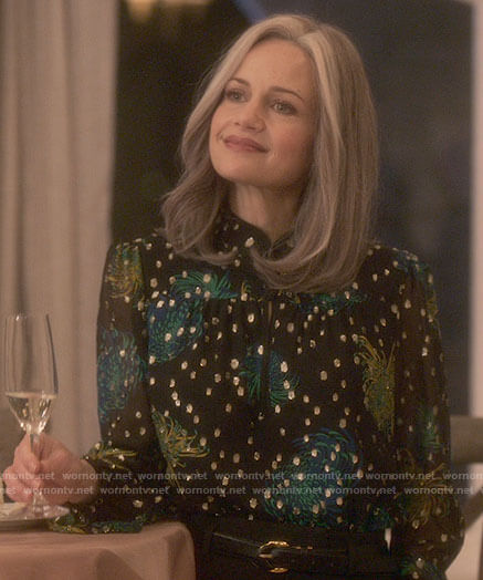 Older Jamie's floral metallic blouse on The Haunting of Bly Manor