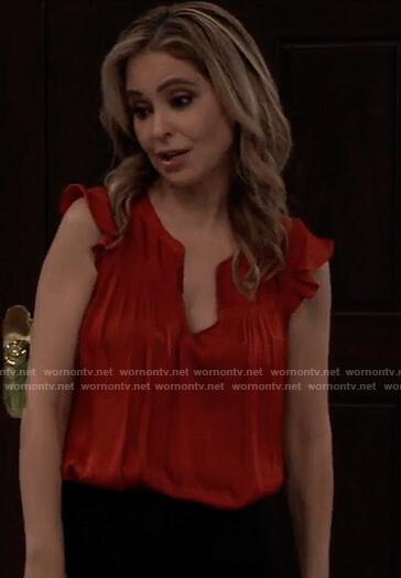Olivia's red sleeveless ruffle top on General Hospital