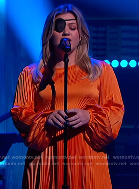 Kelly's orange pleated satin dress on The Kelly Clarkson Show
