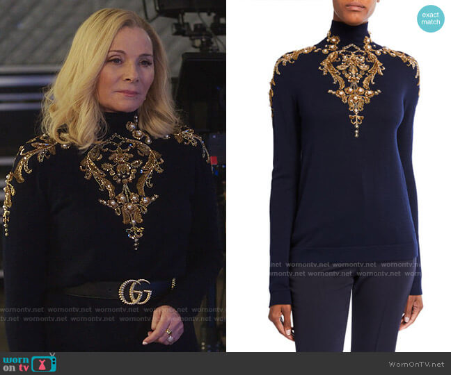 Oscar de la Renta Embellished Wool Turtleneck Sweater worn by Margaret Monreaux (Kim Cattrall) on Filthy Rich
