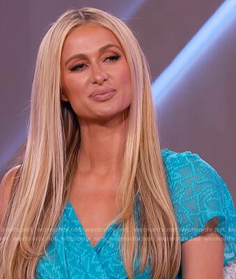Paris Hilton's blue sheer wrap dress on The Kelly Clarkson Show
