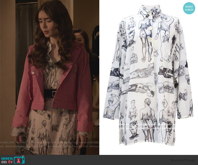 First Aid Print Shirtdress by Jean Paul Gaultier worn by Emily Cooper (Lily Collins) on Emily in Paris