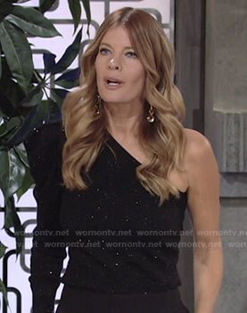 Phyllis's black speckled one-shoulder top on The Young and the Restless
