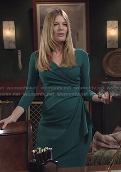 Phyllis's green surplice ruched dress on The Young and the Restless