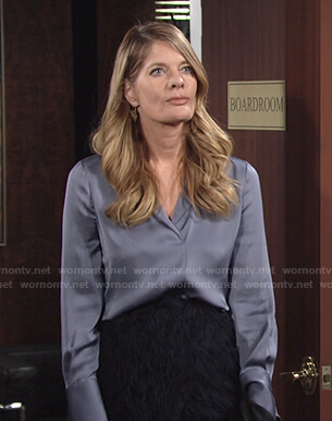 Phyllis blue silk blouse and feather wrap skirt on The Young and the Restless