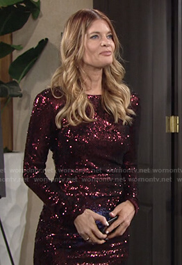 Phyllis's sequin long sleeve dress on The Young and the Restless