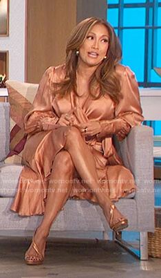 Carrie's pink satin wrap dress on The Talk