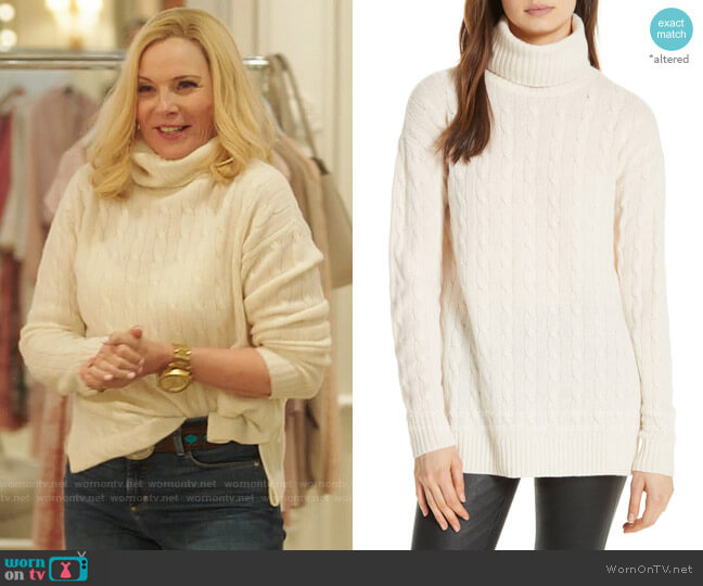 Polo Ralph Lauren Side Slit Cable Turtleneck worn by Margaret Monreaux (Kim Cattrall) on Filthy Rich