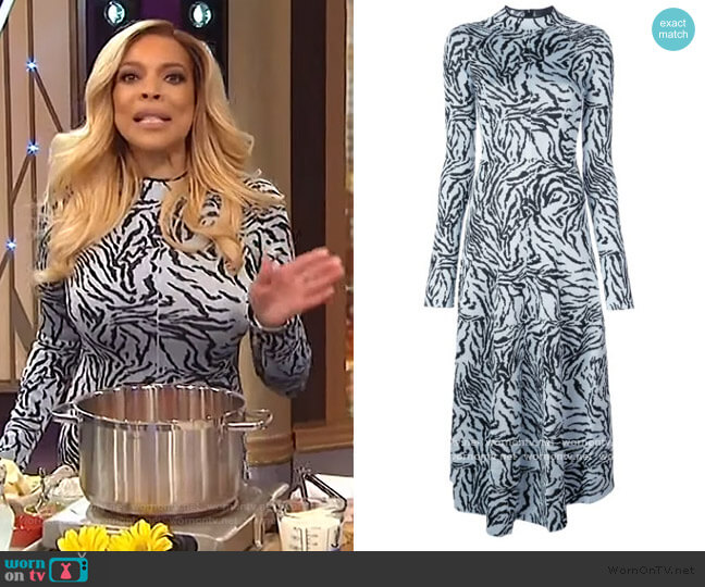 Zebra Jacquard Long Sleeve Dress by Proenza Schouler worn by Wendy Williams  on The Wendy Williams Show
