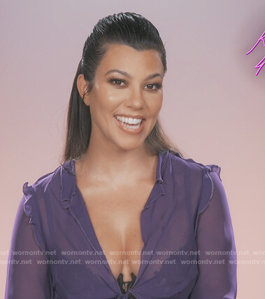 Kourtney's purple sheer ruffle blouse on Keeping Up with the Kardashians