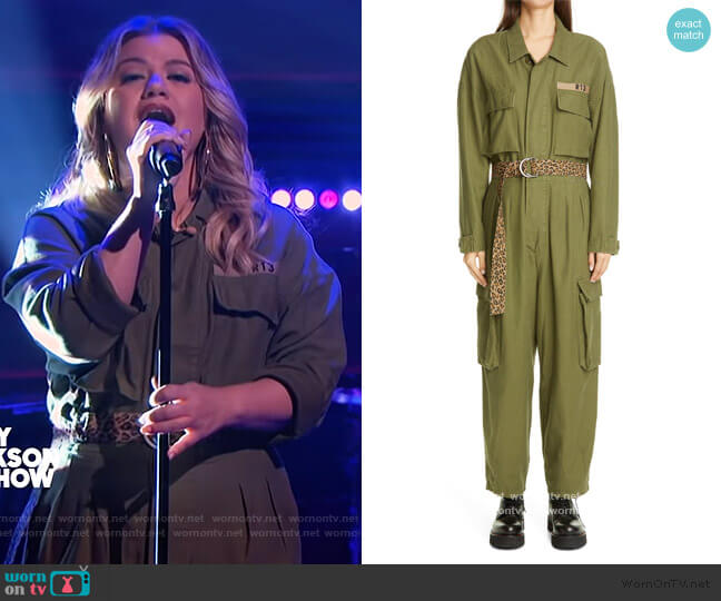 Abu Belted Jumpsuit by R13 worn by Kelly Clarkson  on The Kelly Clarkson Show