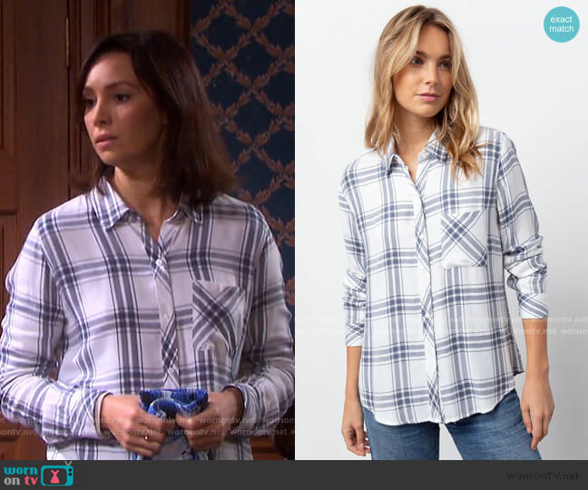 Hunter Shirt in White Storm by Rails worn by Gwen Rizczech (Emily O'Brien) on Days of our Lives