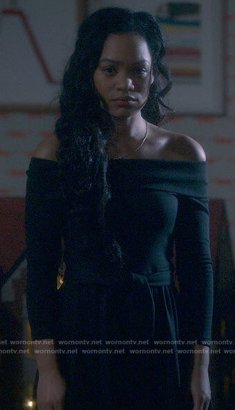 Rebecca's black off-shoulder dress on The Haunting of Bly Manor