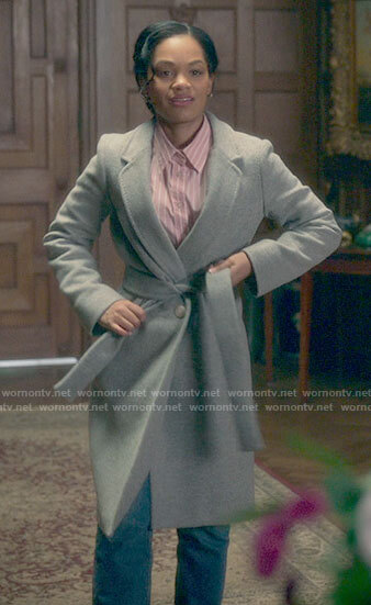 Rebecca's grey coat on The Haunting of Bly Manor