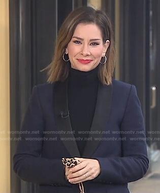 Rebecca's navy shawl collar blazer on Good Morning America