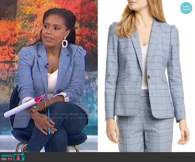 Windowpane Twill Jacket by Rebecca Taylor worn by Sheinelle Jones  on Today