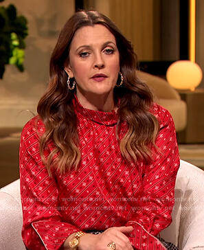 Drew's red printed high neck blouse on The Drew Barrymore Show
