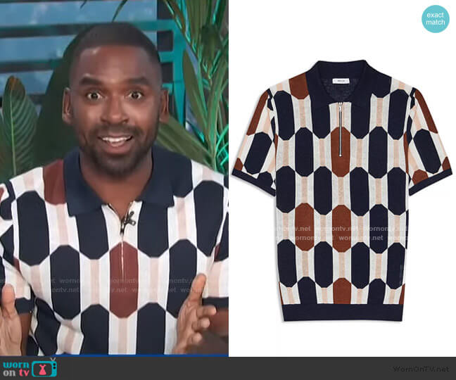 Bramble Color Blocked Half Zip Polo by Reiss worn by Justin Sylvester  on E! News