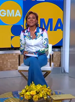 Robin's abstract print blouse and blue pants on Good Morning America