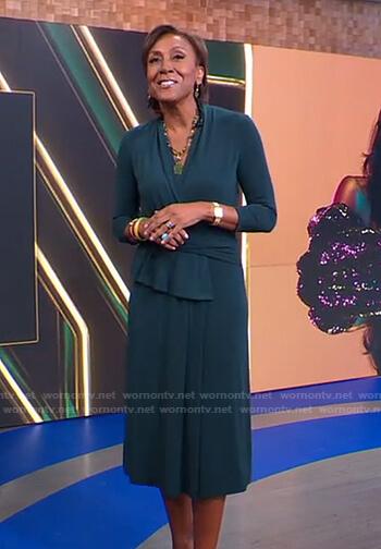 Robin's green wrap midi dress on Good Morning America