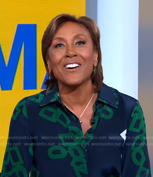 Robin's navy and green link print blouse and check pants on Good Morning America