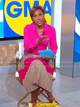 Robin's pink shirt and colorblock pleated skirt on Good Morning America