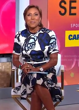 Robin's white and blue rose print dress on Good Morning America