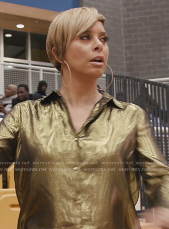 Robyn's gold metallic blouse on The Real Housewives of Potomac