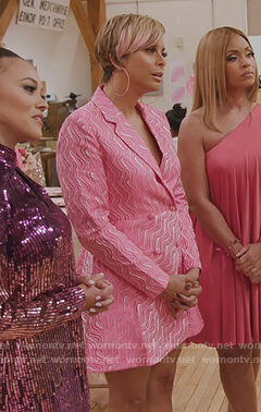 Robyn's pink printed blazer dress on The Real Housewives of Potomac