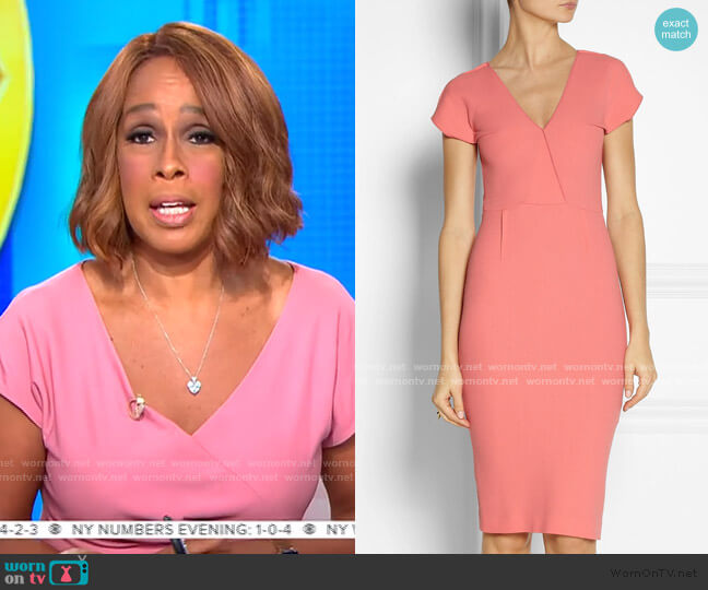 Afyon Wool-Crepe Dress by Roland Mouret worn by Gayle King  on CBS This Morning