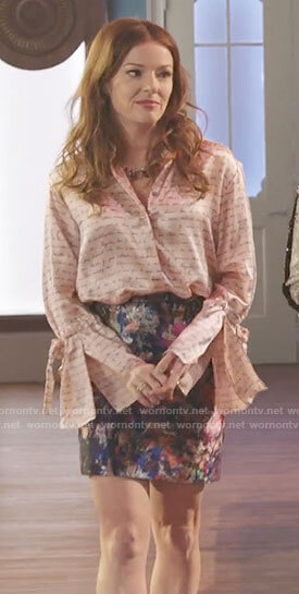 Rose's French  writing print blouse on Filthy Rich