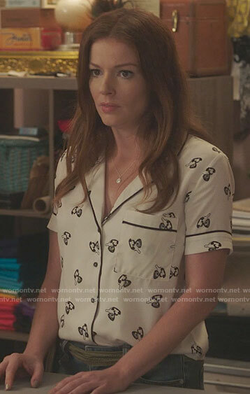 Rose's white telephone print top on Filthy Rich
