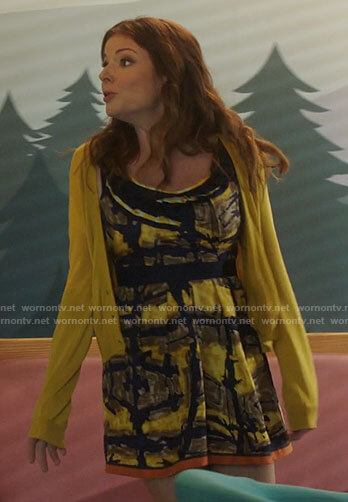 Rose's yellow and navy abstract print dress on Filthy Rich