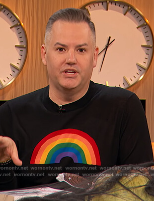 Ross Mathew's black rainbow sweatshirt on The Kelly Clarkson Show