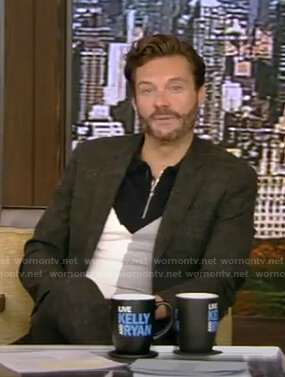 Ryan Seacrest's colorblock half-zip polo shirt on Live with Kelly and Ryan